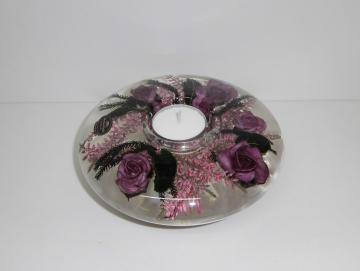 Teelichthalter Rose Violett