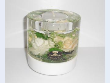 Teelichthalter weiße Rosen rund