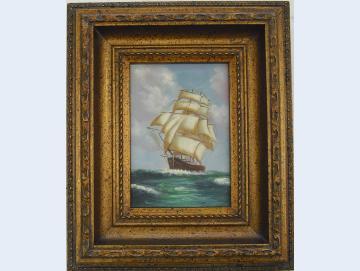 Ölgemälde Segelschiff auf See