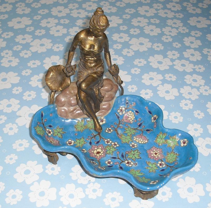 Seifenschale mit Bronze Figur
