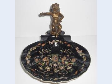 Seifenschale mit Bronze Engel schwarz