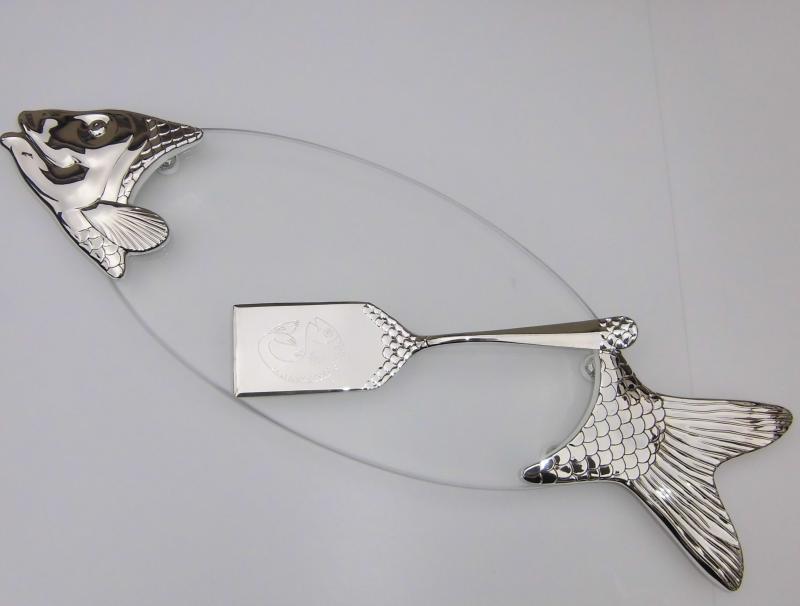 Servierplatte Fischplatte versilbert