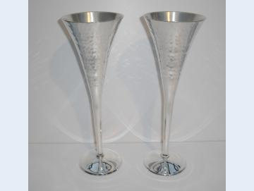 Champagnerglas versilbert 2 Stück