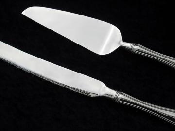 Tortenheber und Tortenmesser versilbert