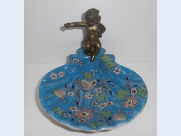 Seifenschale mit Bronze Engel türkis